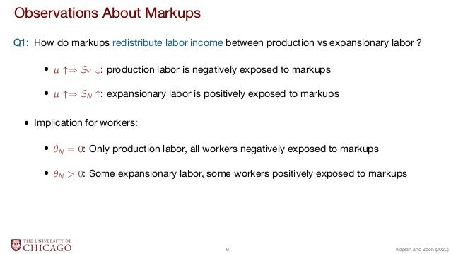 Observations About Markups Q1: How do markups redistribute labor income between production vs expansionary labor ?   ) SY ...