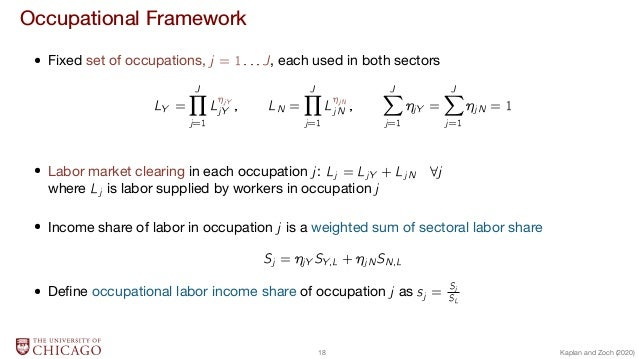 Occupational Framework  Fixed set of occupations, j = 1:::J, each used in both sectors LY = J∏ j=1 Lj Y jY ; LN = J∏ j=1 L...