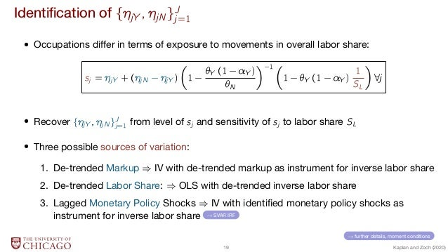 Identification of BjY ; jNCJ j=1  Occupations differ in terms of exposure to movements in overall labor share: sj = jY + (...