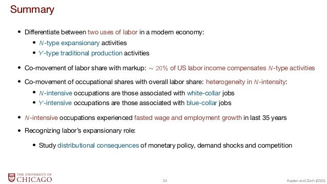 Summary  Differentiate between two uses of labor in a modern economy:  N-type expansionary activities  Y -type traditional...