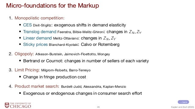 Micro-foundations for the Markup 1. Monopolistic competition:  CES Dixit-Stiglitz: exogenous shifts in demand elasticity  ...