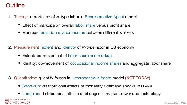 Outline 1. Theory: importance of N-type labor in Representative Agent model  Effect of markups on overall labor share vers...