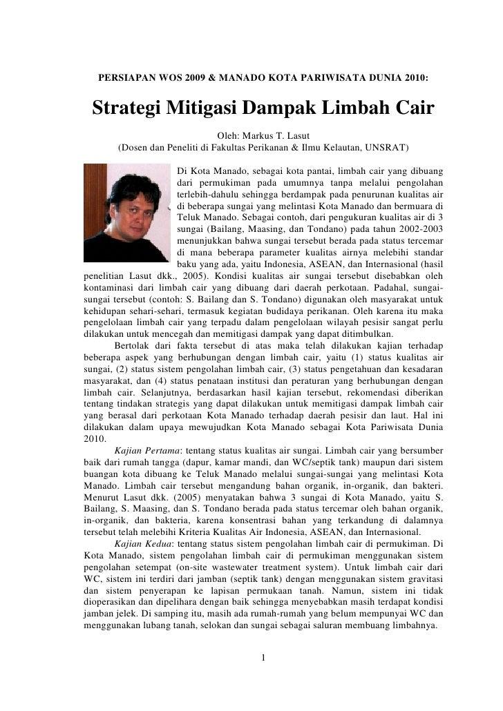 PERSIAPAN WOS 2009 & MANADO KOTA PARIWISATA DUNIA 2010:     Strategi Mitigasi Dampak Limbah Cair                          ...