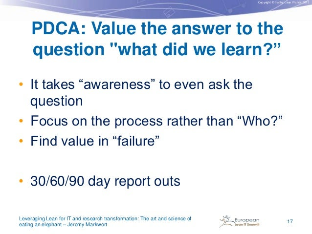 """Copyright © Institut Lean France 2012  PDCA: Value the answer to the question """"what did we learn?"""" • It takes """"awareness"""" ..."""