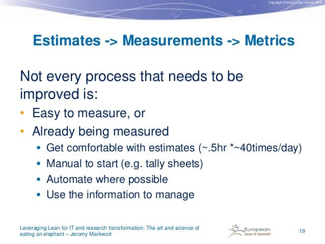 Copyright © Institut Lean France 2012  Estimates -> Measurements -> Metrics Not every process that needs to be improved is...