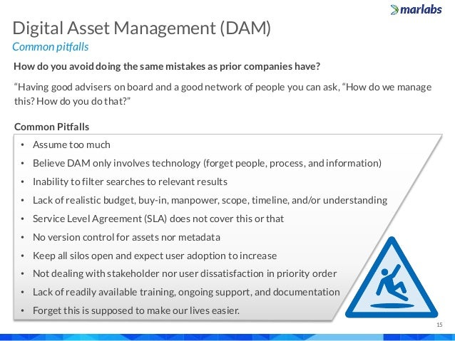 """Common pitfalls Digital Asset Management (DAM) 15 How do you avoid doing the same mistakes as prior companies have? """"Havin..."""