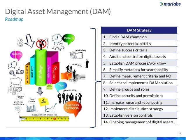 Roadmap Digital Asset Management (DAM) 16 DAM Strategy 1. Find a DAM champion 2. Identify potential pitfalls 3. Define suc...