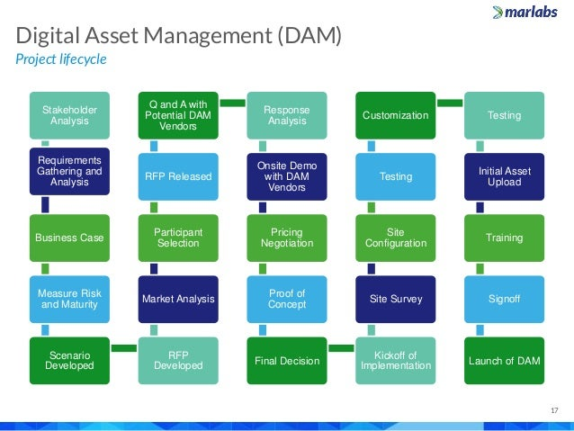 Project lifecycle Digital Asset Management (DAM) 17 Stakeholder Analysis Requirements Gathering and Analysis Business Case...