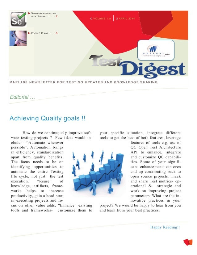 APRIL 2014VOLUME 1.8 MARLABS NEW SLETTER FOR TESTING UPDATES A ND KNOW LEDGE SHARING Editorial … Achieving Quality goals !...