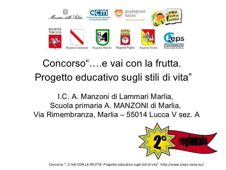 """<ul><li>Concorso""""….e vai con la frutta.  </li></ul><ul><li>Progetto educativo sugli stili di vita"""" </li></ul>I.C. A. Manzo..."""