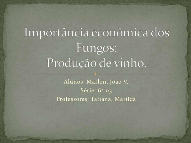 Alunos: Marlon, João V.<br />Série: 6ª-03<br />Professoras: Tatiana, Marilda<br />Importância econômica dos Fungos:Produçã...
