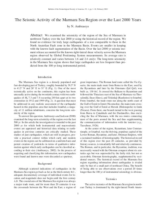 Bulletin of the Seismological Society of America, 92, 1, pp. 1–18, February 2002  The Seismic Activity of the Marmara Sea ...