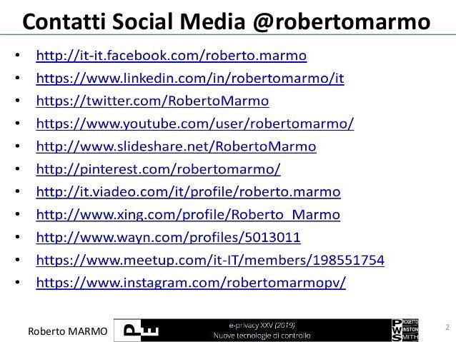 Roberto MARMO Contatti Social Media @robertomarmo 2