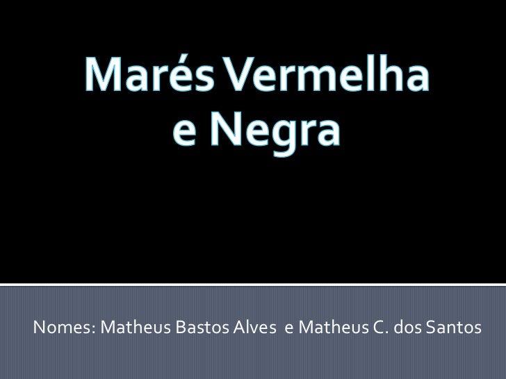 Marés Vermelha   e Negra<br />Nomes: Matheus Bastos Alves  e Matheus C. dos Santos<br />