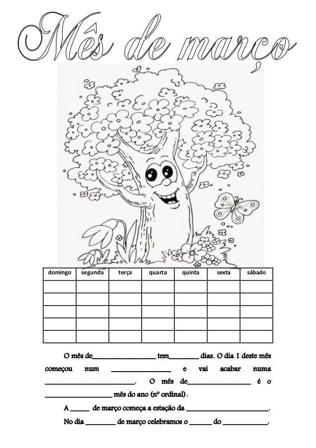 Resultado de imagem para calendario de março para preencher