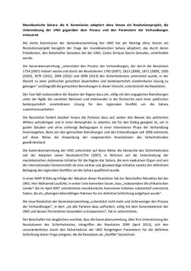 Marokkanische Sahara: die 4. Kommission adoptiert ohne Votum ein Resolutionsprojekt, die Unterstützung der UNO gegenüber d...