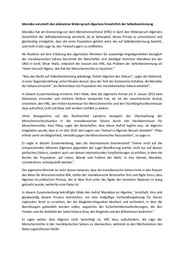 Marokko verurteilt den eklatanten Widerspruch Algeriens hinsichtlich der Selbstbestimmung Marokko hat am Donnerstag vor de...