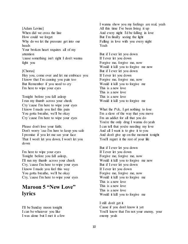 Lyric brand new you won t know lyrics : Maroon 5