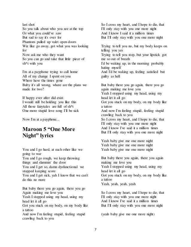 Lyric maroon five love somebody lyrics : Maroon 5