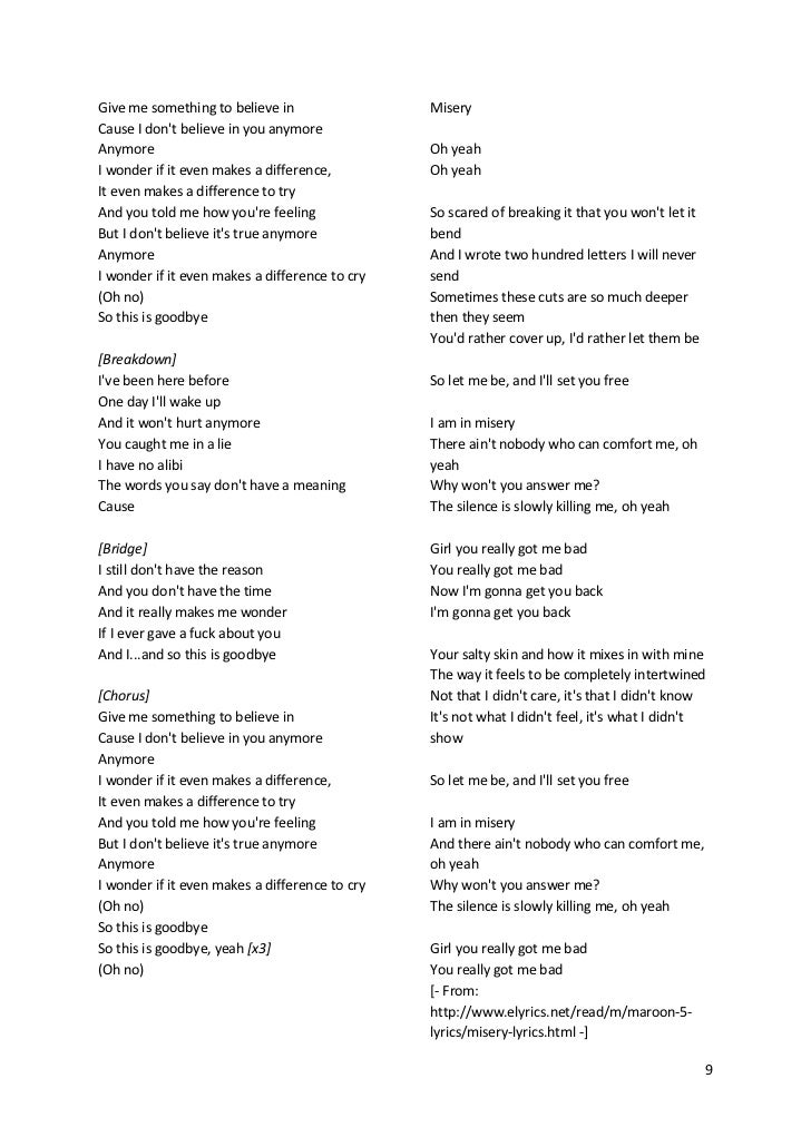Maroon5's songs lyric (lirik lagu Maroon5)