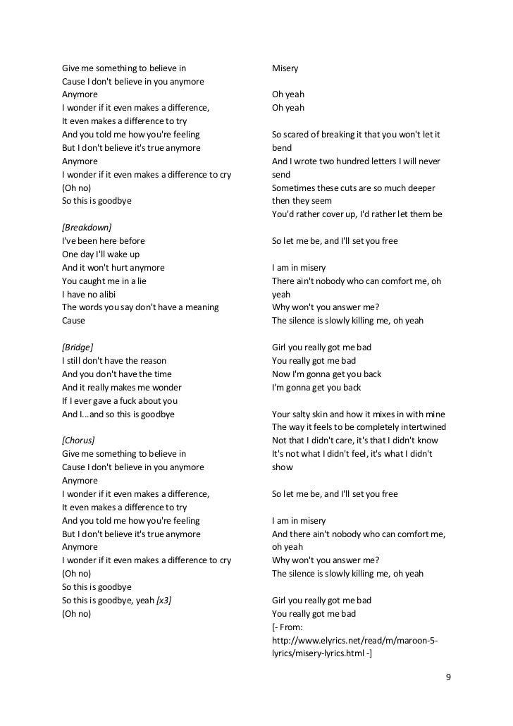 Lyric i believe in you lyrics : Maroon5's songs lyric (lirik lagu Maroon5)