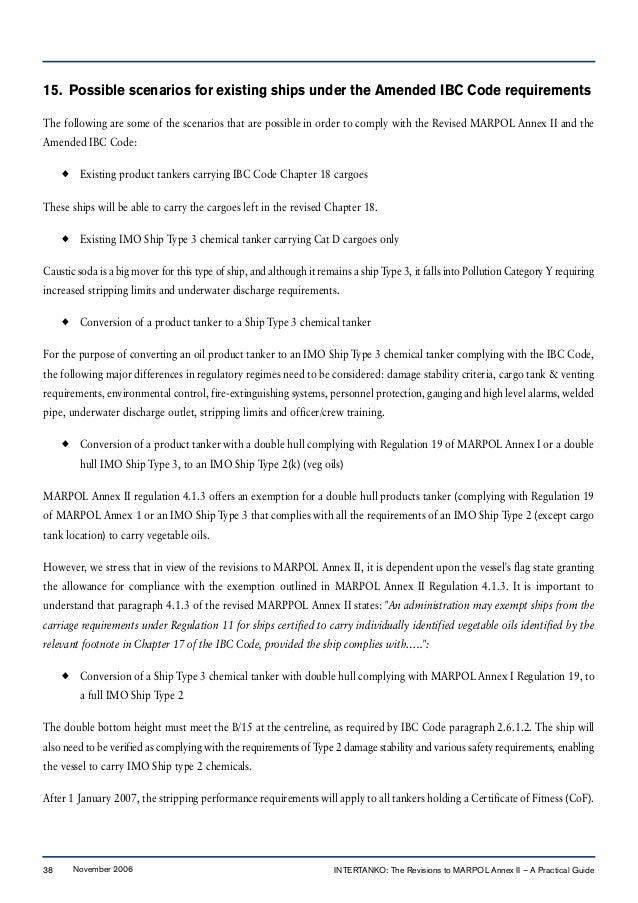 15. Possible scenarios for existing ships under the Amended IBC Code requirements The following are some of the scenarios ...