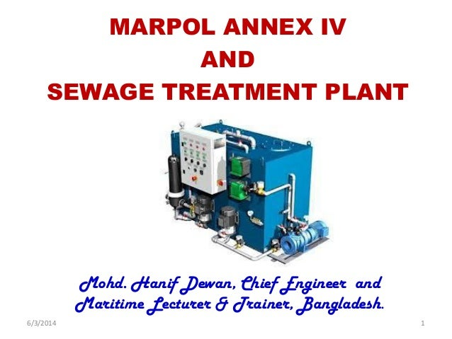 MARPOL ANNEX IV AND SEWAGE TREATMENT PLANT Mohd. Hanif Dewan, Chief Engineer and Maritime Lecturer & Trainer, Bangladesh. ...