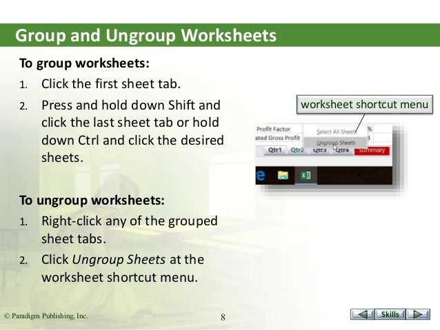 Marquee16 presentationexcel s3 – Excel Group Worksheets
