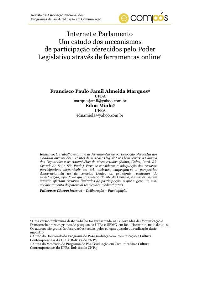 Revista da Associação Nacional dos Programas de Pós-Graduação em Comunicação Internet e Parlamento Um estudo dos mecanismo...