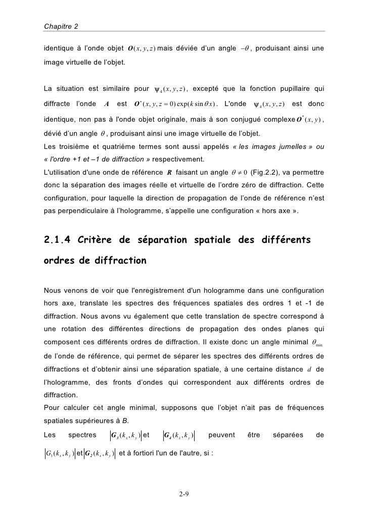 Chapitre 2  identique à l'onde objet O ( x, y, z ) mais déviée d'un angle −θ , produisant ainsi une image virtuelle de l'o...