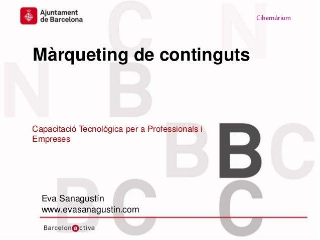Cibernàrium www.bcn.cat/cibernarium www.evasanagustin.com Màrqueting de continguts Capacitació Tecnològica per a Professio...