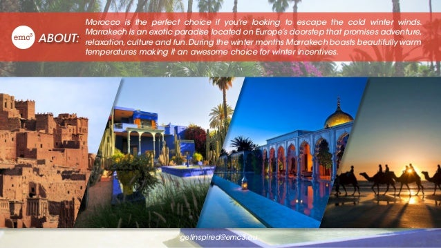 ABOUT: Morocco is the perfect choice if you're looking to escape the cold winter winds. Marrakech is an exotic paradise lo...