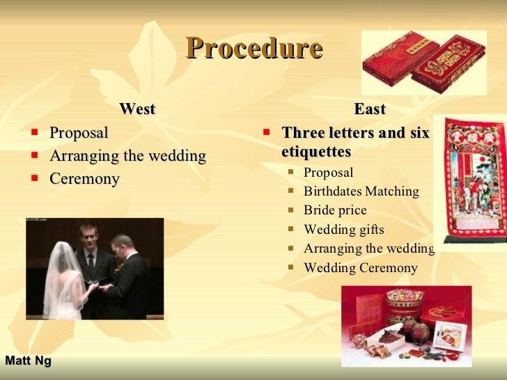 Procedure <ul><li>West </li></ul><ul><li>Proposal </li></ul><ul><li>Arranging the wedding </li></ul><ul><li>Ceremony </li>...
