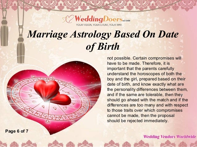 Match date of birth for marriage