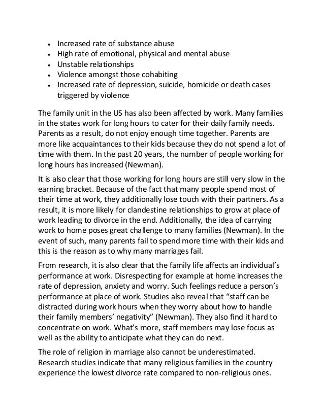 marriage and family life in america sample essay  following health effects 3
