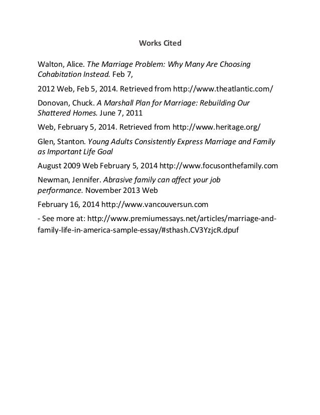 Marriage and family life in america sample essay