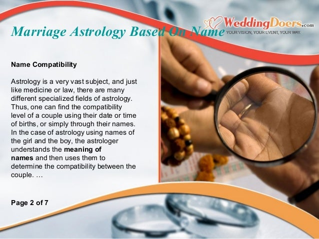 Marriage compatibility based on names