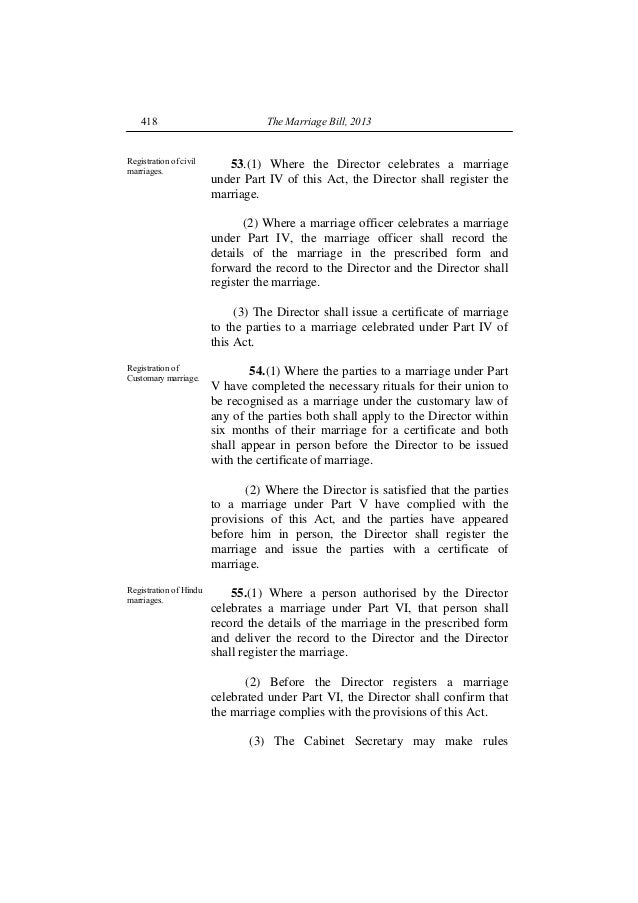 The Proposed Kenya Marriage Bill 2013