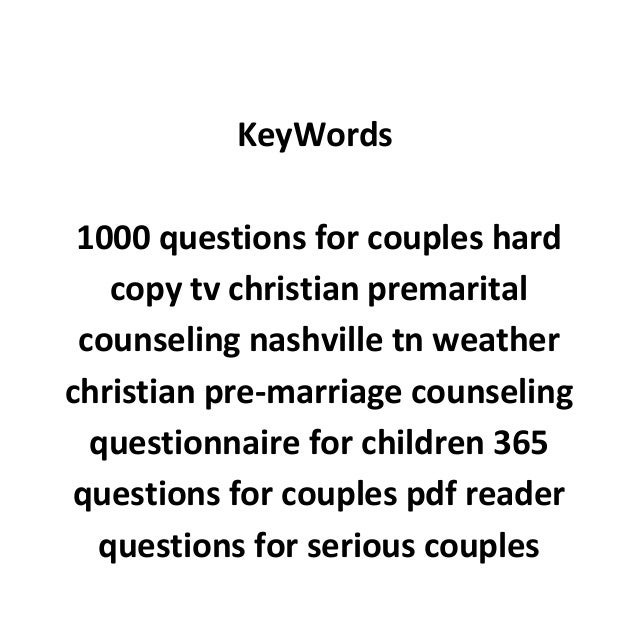 pre marriage counseling questions