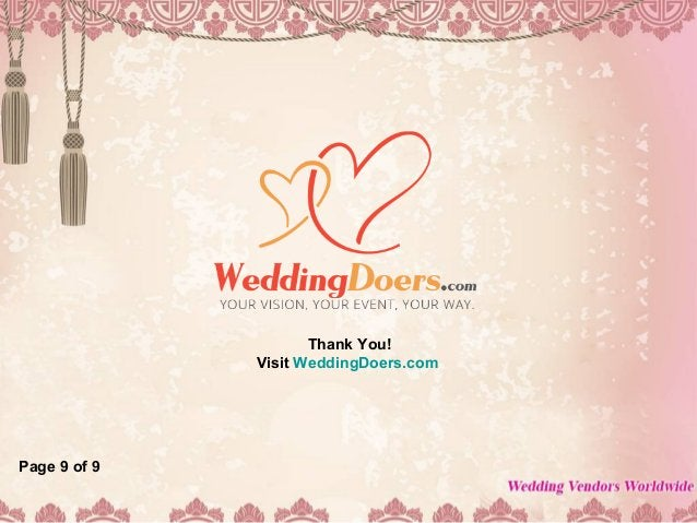 Thank You! Visit WeddingDoers.com Page 9 of 9