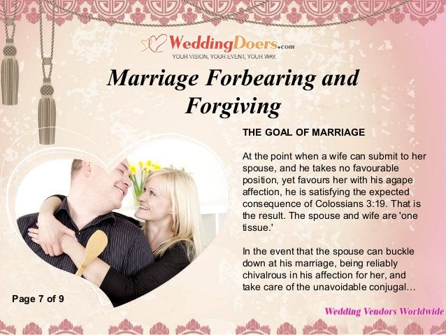 THE GOAL OF MARRIAGE At the point when a wife can submit to her spouse, and he takes no favourable position, yet favours h...