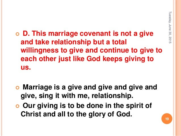 reason for creation of covenant marriage Introduction into the marriage covenant and foundational reason for entering into the marital covenant is a creation itself was.