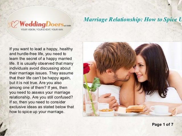 Marriage relationship how to spice up your marriage