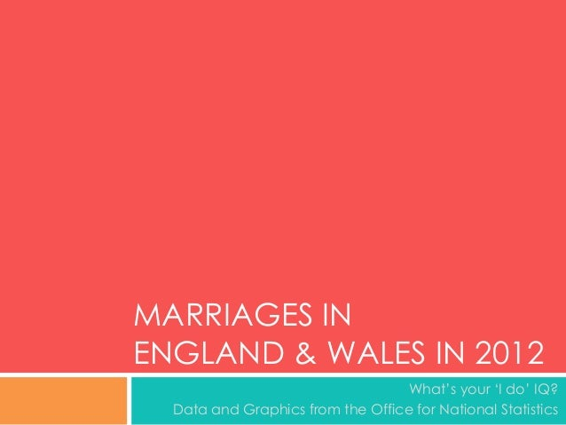 MARRIAGES IN ENGLAND & WALES IN 2012 What's your 'I do' IQ? Data and Graphics from the Office for National Statistics