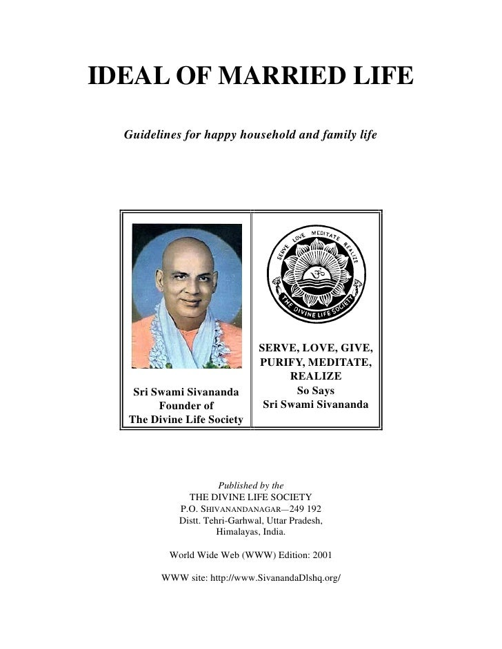 IDEAL OF MARRIED LIFE    Guidelines for happy household and family life                                    SERVE, LOVE, GI...