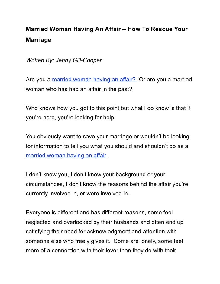 Married Woman Having An Affair – How To Rescue YourMarriageWritten By: Jenny Gill-CooperAre you a married woman having an ...