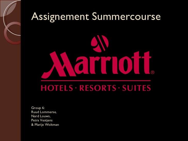 Group 6:  Ruud Lommerse,  Nard Louws,  Petra Vestjens  & Marije Woltman Assignement Summercourse