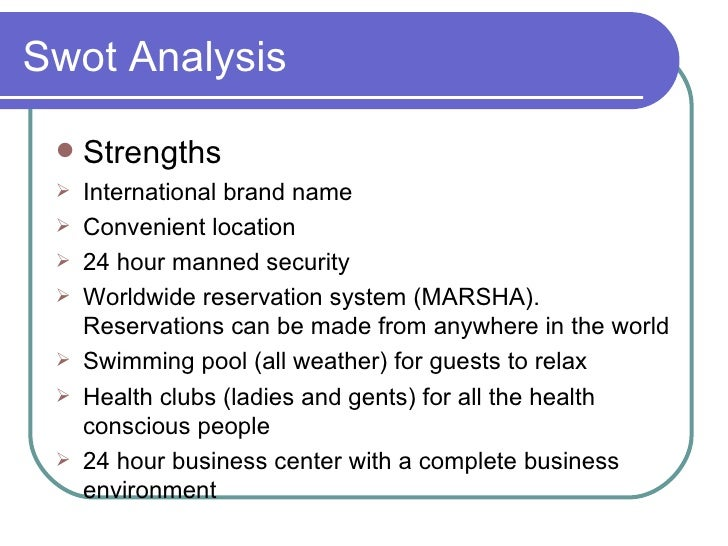marriott swot Marriott international introduction this research focused on swot analysis, porters 5 forces model and pest analysis of marriott  marriot international is a leading company with more than 3,700 lodging properties in 73 countries and territories.