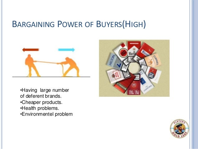 BARGAINING POWER OF BUYERS(HIGH) •Having large number of deferent brands. •Cheaper products. •Health problems. •Environmen...