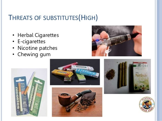 THREATS OF SUBSTITUTES(HIGH) • Herbal Cigarettes • E-cigarettes • Nicotine patches • Chewing gum